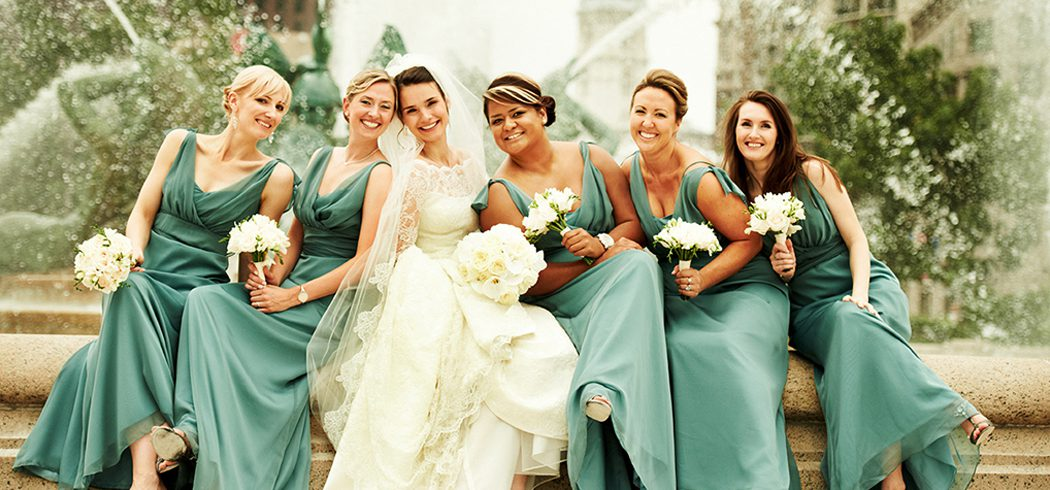 Bride with Bridesmaids at Wedding at Logan Square in Philadelphia, PA - Event Planning