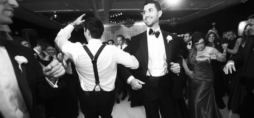 Groom dances with groomsmen at Jewish wedding reception in Philadelphia, PA - Event Planning