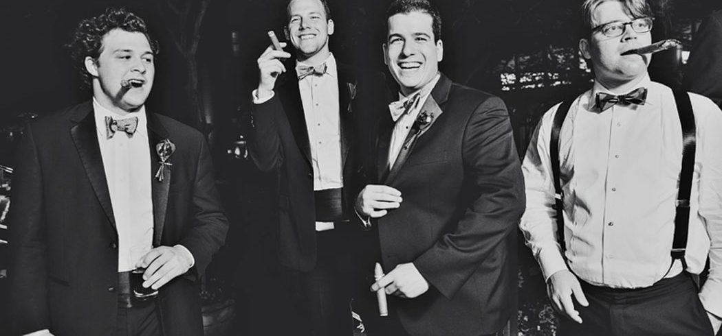 Black and white photo of groom and groomsmen at wedding in Philadelphia, PA - Event Planner