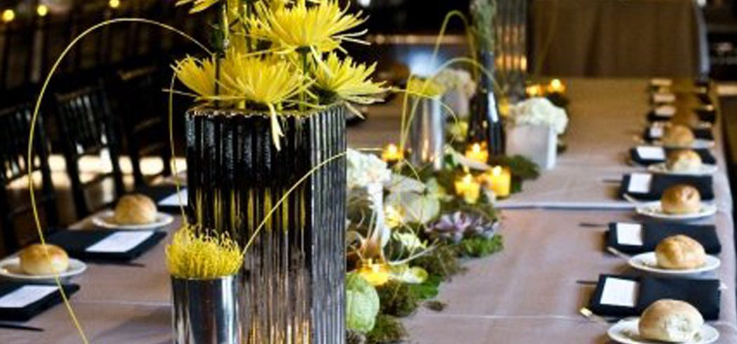 Flower and candles as centerpieces at wedding reception in Philadelphia, PA - Event Planner