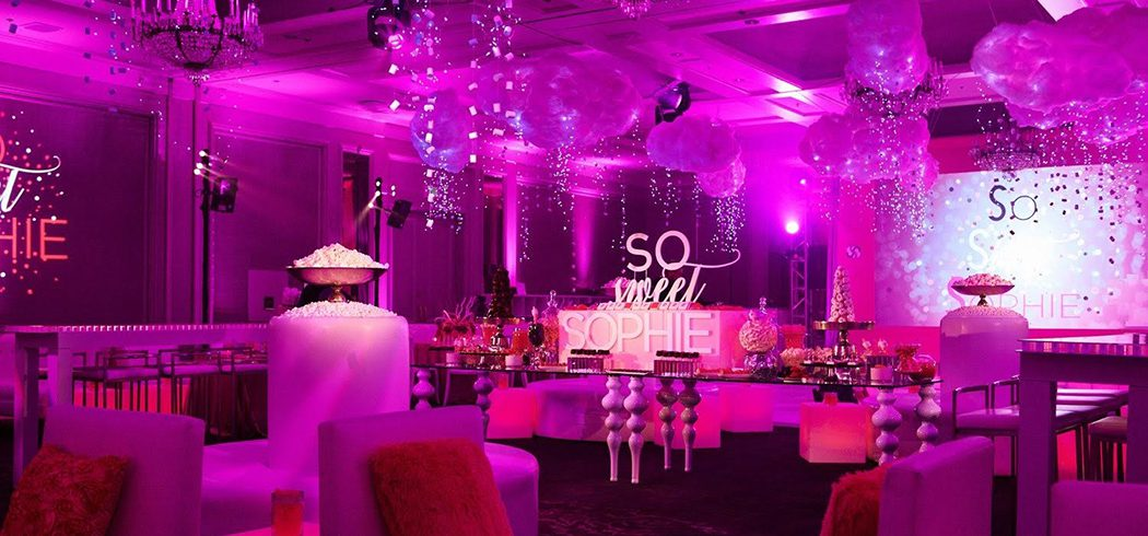 Bat Mitzvah party with pink uplighting, balloons, and sweet buffet in Philadelphia, PA - Event Planning