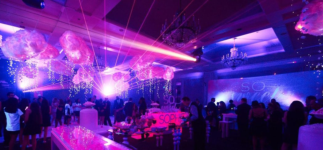Bat Mitzvah party people dancing and party lights and sculptural element in Philadelphia, PA - Event Planning